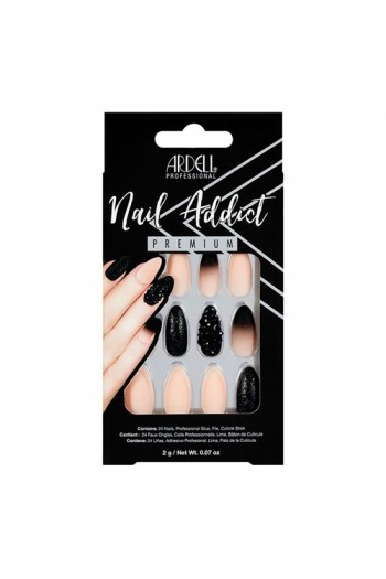 Ardell Nail Addict - Premium Artificial Nail Set - Black Stud & Pink Ombre