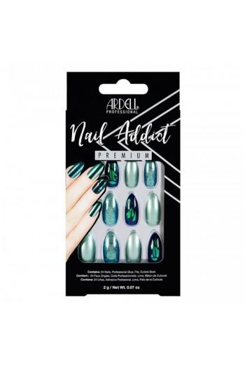 Ardell Nail Addict - Premium Artificial Nail Set - Green Glitter Chrome
