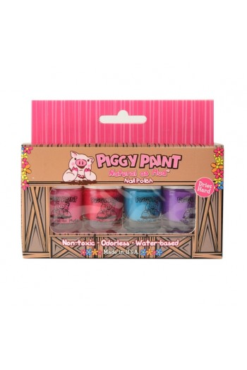 Piggy Paint - 4 Polish Box Set - 4 Nail Polish Mini Set - 0.11oz /3.5ml each