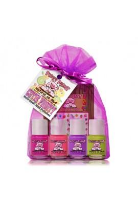 Piggy Paint - Cutie Fruity Set - 4 Nail Polish Mini Set w/ 3D Stickers  - 0.25oz/7.4ml each