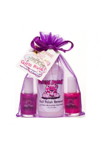 Piggy Paint - Girls Rule! Gift Pack - 2 Nail Polish / 1 Nail Polish Remover - 3 Piece Set
