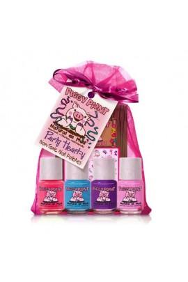 Piggy Paint - Party Heart-y Gift Kit - 4 Nail Polish Mini Set w/ 3D Stickers - 0.25oz/7.4ml each