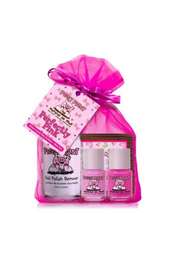 Piggy Paint - Perfectly Pink Gift Kit - 2 Mini Polish+1 Sticker+1 Nail Remover - 0.25oz/7.4ml each, 3.4 oz/100ml