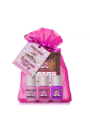 Piggy Paint - Rainbow Party Gift Kit - 3 Nail Polish Mini Set w/ 3D Stickers - 0.25oz/7.4ml each