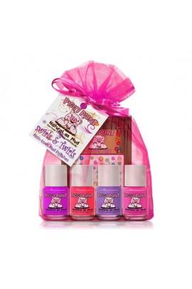 Piggy Paint - Swirls & Twirls Gift Kit - 4 Nail Polish Mini Set w/ 3D Stickers - 0.25oz/7.4ml each