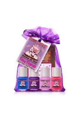 Piggy Paint - Tiny Tiaras Gift Kit - 4 Nail Polish Mini Set w/ 3D Stickers - 0.25oz/7.4ml each
