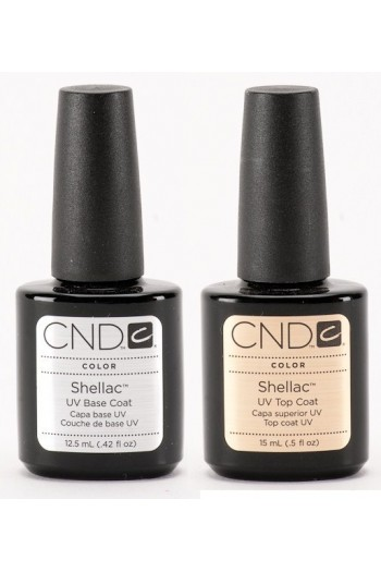 CND Shellac Power Polish - UV Top Coat (0.5oz / 15ml) / Base Coat (0.42oz / 12.5ml)