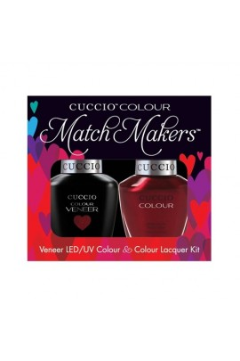 Cuccio Match Makers - Veneer LED/UV Colour & Colour Lacquer - Moscow Red Square - 0.43oz / 13ml each
