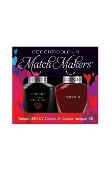Cuccio Match Makers - Veneer LED/UV Colour & Colour Lacquer - Red Eye To Shanghai - 0.43oz / 13ml each