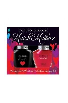 Cuccio Match Makers - Veneer LED/UV Colour & Colour Lacquer - Red Lights In Amsterdam - 0.43oz / 13ml each