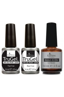 EzFlow TruGel LED/UV Gel Polish - Base Coat, Top Coat & Bond It On - 0.5oz / 14ml