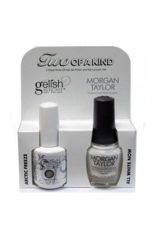 Nail Harmony Gelish & Morgan Taylor Nail Lacquer - Two Of A Kind Core Duo - Arctic Freeze & All White Now