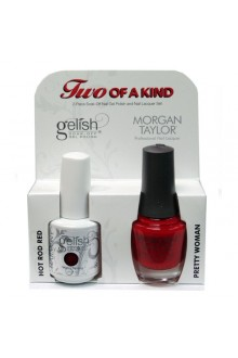Nail Harmony Gelish & Morgan Taylor Nail Lacquer - Two Of A Kind Core Duo - Hot Rod Red & Pretty Woman