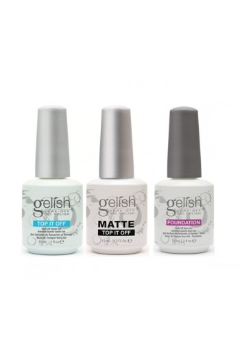 Nail Harmony Gelish - Matte, Top It Off & Foundation Base TRIO - 0.5oz / 15ml