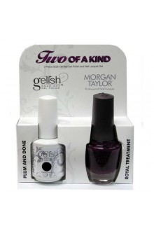 Nail Harmony Gelish & Morgan Taylor Nail Lacquer - Two Of A Kind Core Duo - Plum and Done & Royal Treatment