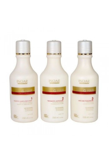 Inoar - G-Hair Smoothing Treatment - 3-Step Keratin Kit - 8.4oz / 250ml each