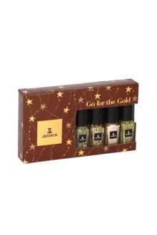 Jessica Effects Glitzy Glitter Nail Polish - Go For The Gold Collection Mini Gift Set - 0.18oz / 5ml
