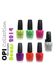 OPI Nail Lacquer - Neons 2014 Collection - 0.5oz / 15ml each - All 6 Colors + Put A Coat On!